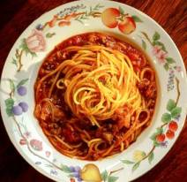 Spaghetti Sauce Red Over Pasta in Bowl Free Use - Copy - Copy