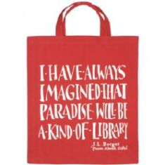 Borges Library quote tote bag. Photo by The Literary Gift Company.