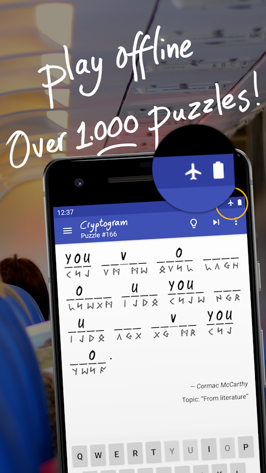 A screencap of an ad for the Cryptogram word game, showing that you can play offline