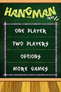 A screencap of the Hangman game, showing the 1 player and 2 player options