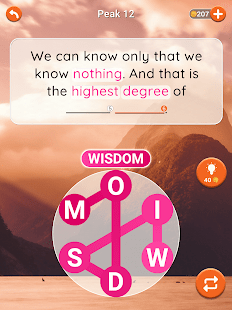 A screencap of a level in Quotescapes with the theme Peak