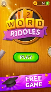 A screencap of an ad showing the start screen of Word Riddles