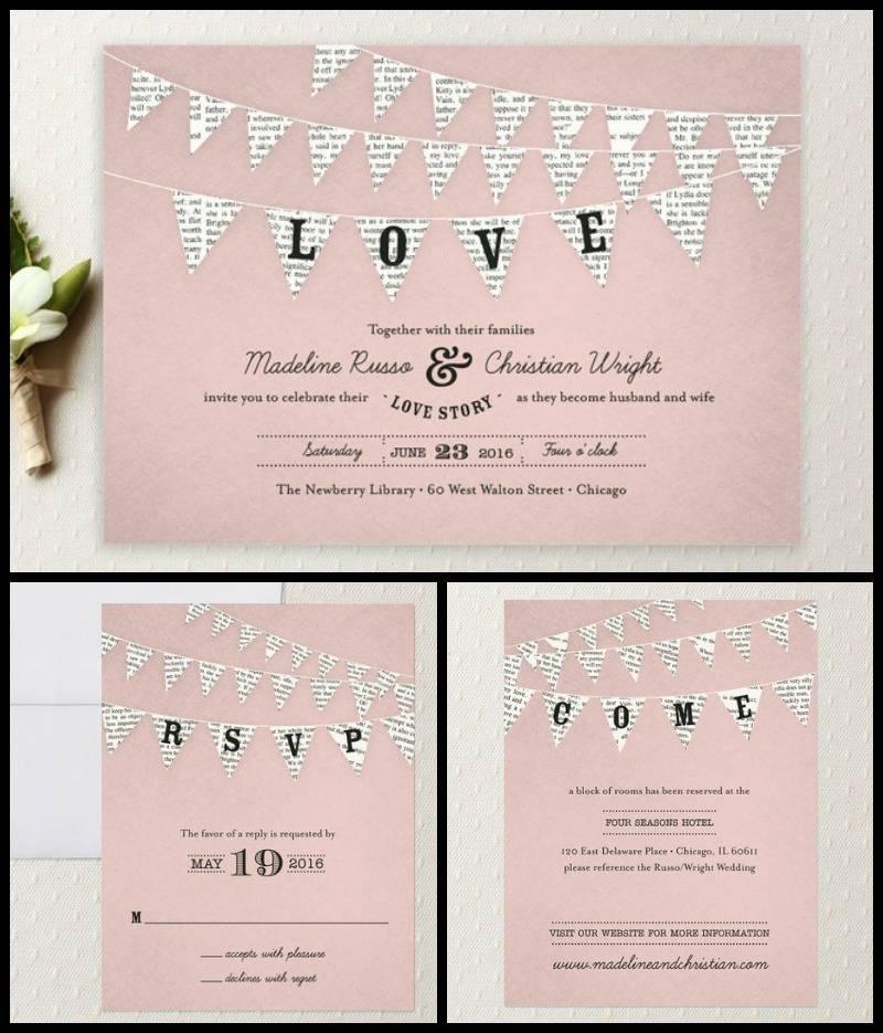 Love Story Bookish Wedding Invitations