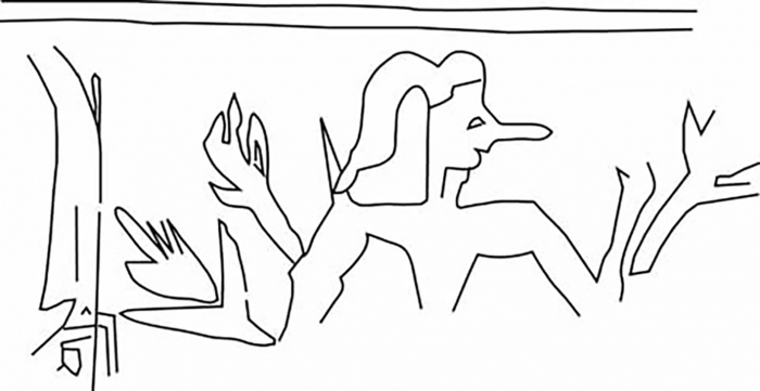 Fig.6–Drawing of an ancient impression of a cylinder seal.