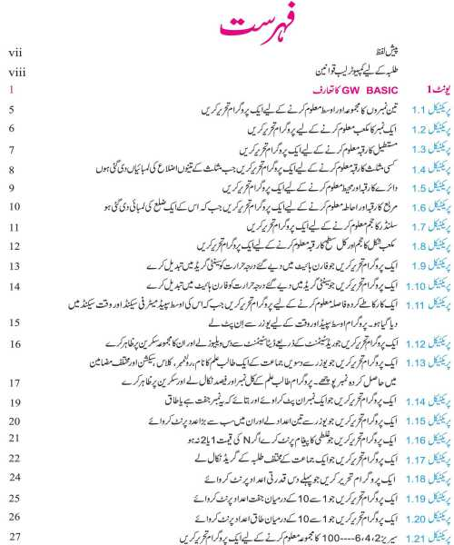 Computer-Practical-Book-10th-Class-Urdu-Medium-contents-page
