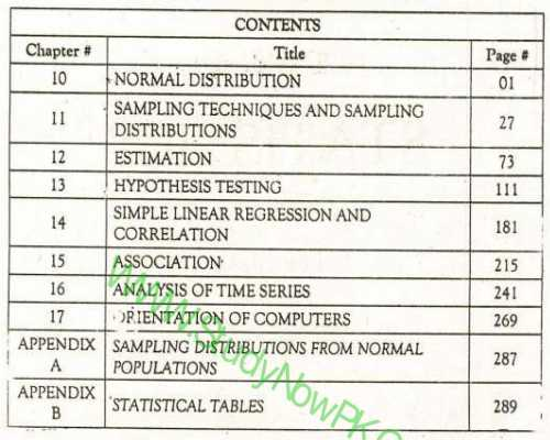Download Inter Part 2 Statistics Book Pdf English Medium contents