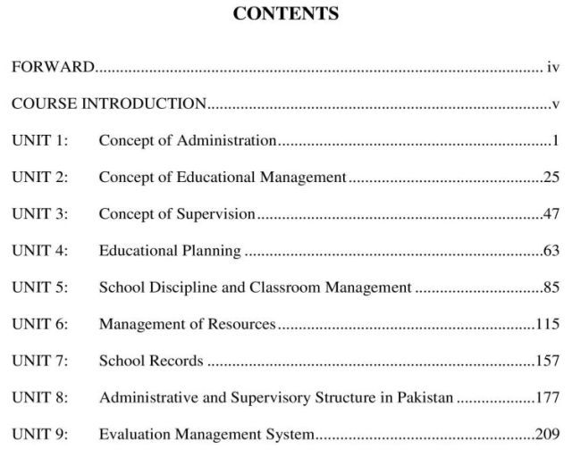 AIOU-B.Ed-Code-8605-Book-contents-page