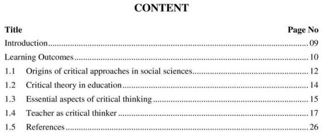 AIOU-B.Ed-Code-8611-Book-contents-page