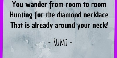 You wander from room to room Hunting for the diamond necklace That is already around your neck!
