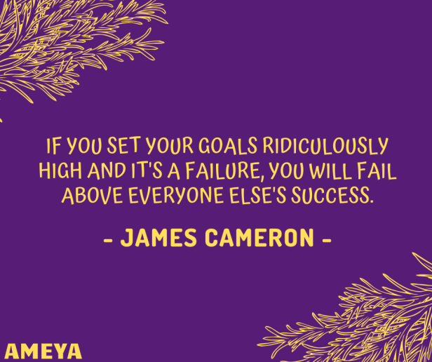 IF YOU SET YOUR GOALS RIDICULOUSLY HIGH AND IT'S A FAILURE, YOU WILL FAIL ABOVE EVERYONE ELSE'S SUCCESS. – JAMES CAMERON