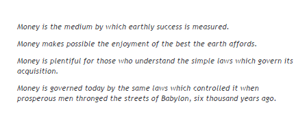 Babylonian parables about money management from The Richest Man in Babylon by George Samuel Clason