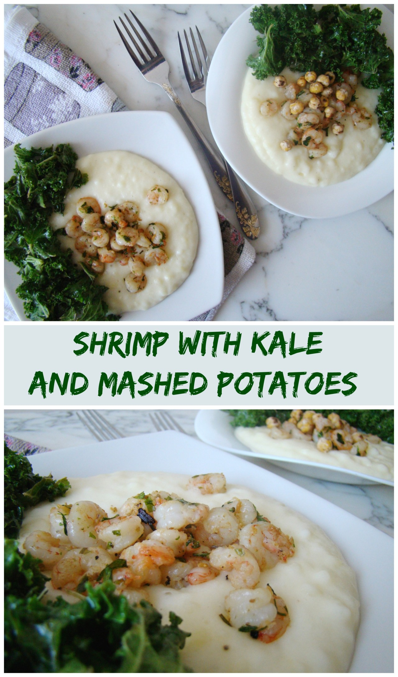 Shrimp with Kale and Mashed Potatoes