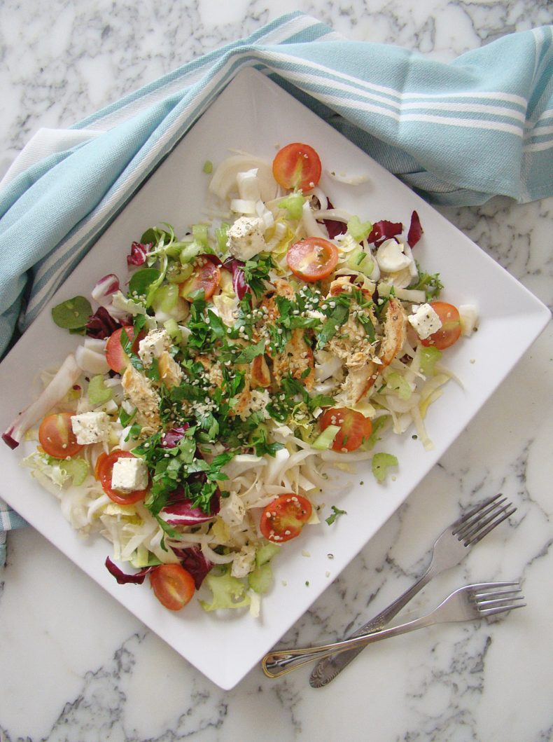 Endive, Cherry Tomatoes and Feta Cheese Salad