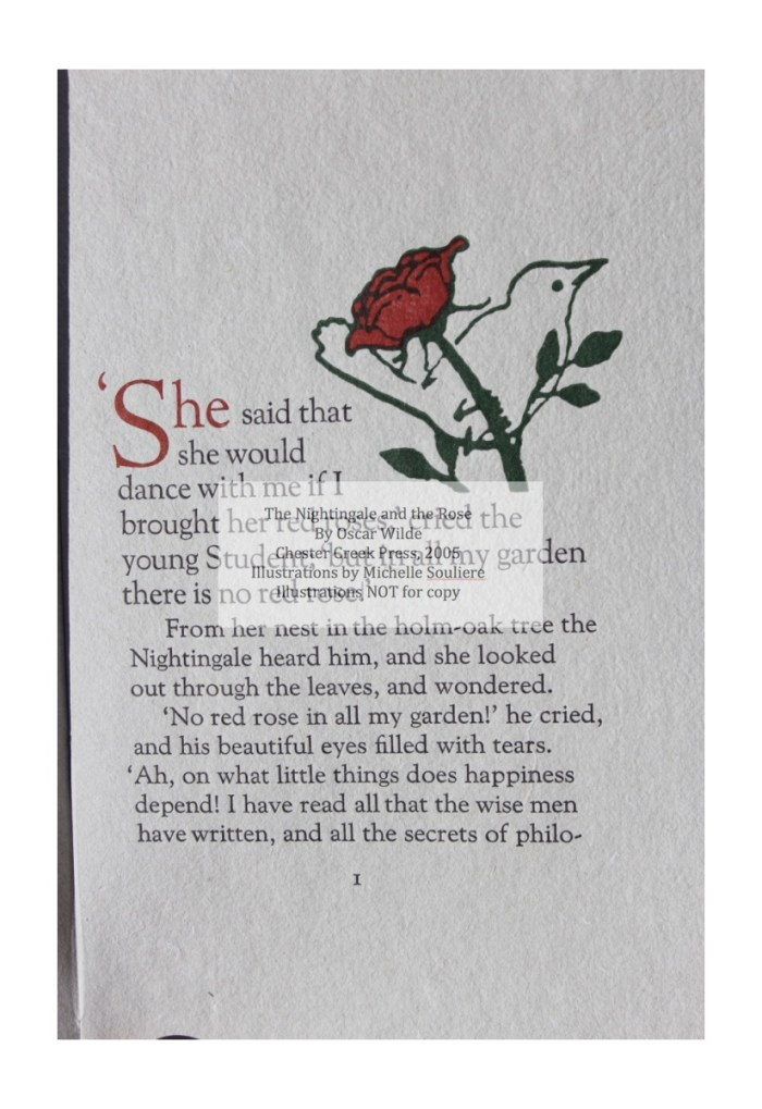 The Nightingale and the Rose, Chester Creek Press, Sample Illustration #1 with Text