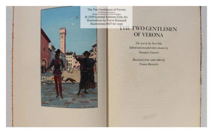 The Two Gentleman of Verona, Limited Editions Club, Set Title Page
