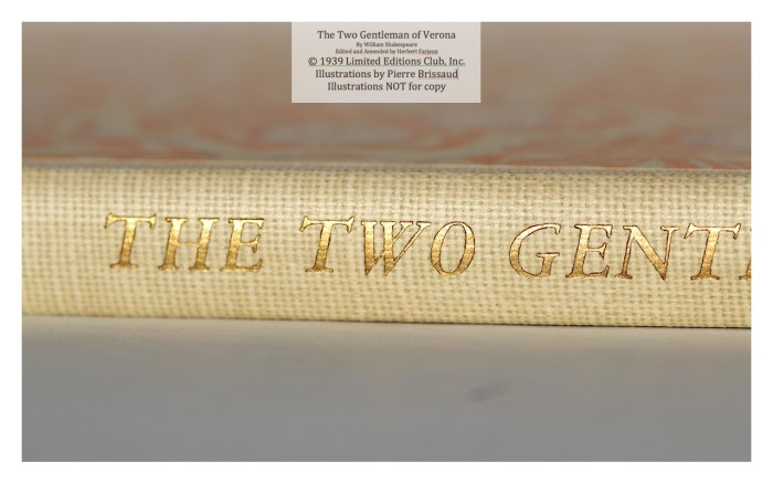 The Two Gentleman of Verona, Limited Editions Club , Macro of Spine 2