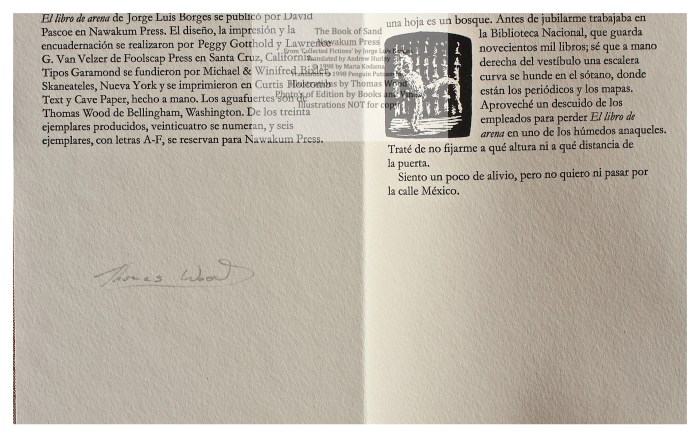 The Book of Sand, Nawakum Press, Sample Page and Colophon, Spanish, with Signature