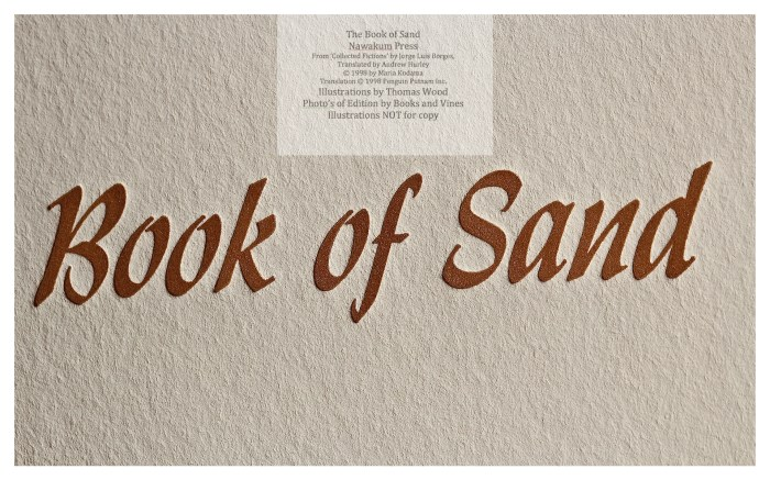 The Book of Sand, Nawakum Press, Macro of Title Page