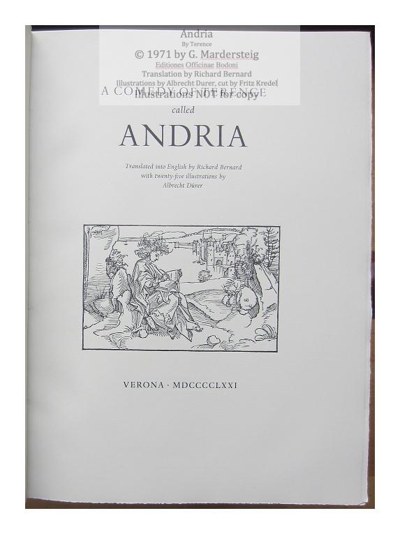 Andria, Editiones Officinae Bodoni, Title Page