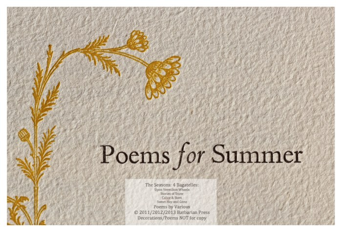 The Seasons: Four Bagatelles, Sweet Hay and Gone: Poems for Summer, Macro of Title Page #1, Barbarian Press