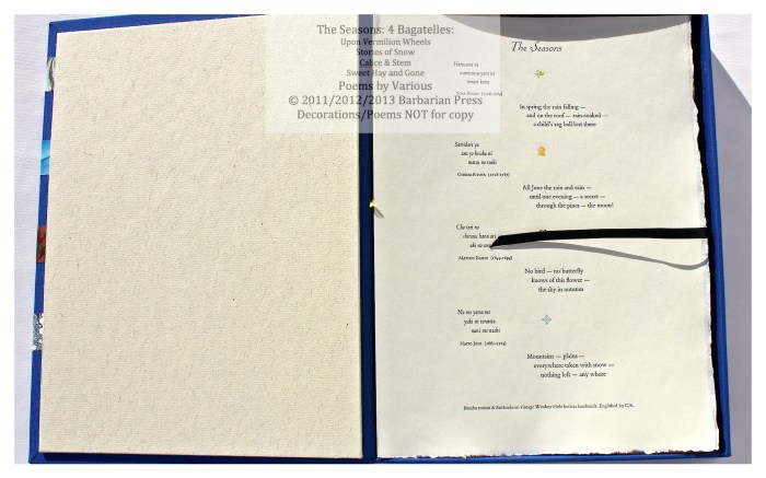 Single sheet of four haiku in rōmaji with English versions by Crispin Elsted