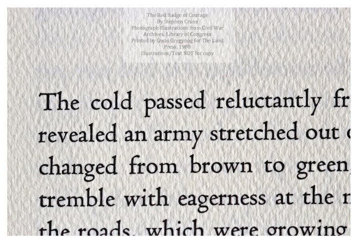 The Red Badge of Courage, Gwasg Gregynog, Macro of Sample Page with Text