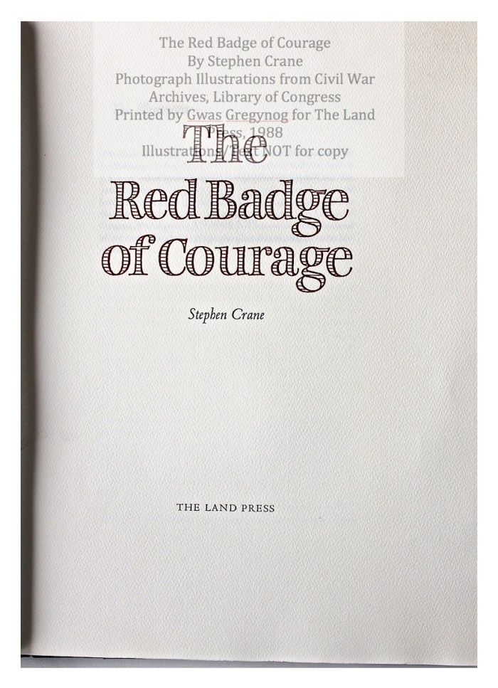 The Red Badge of Courage, Gwasg Gregynog, Title Page