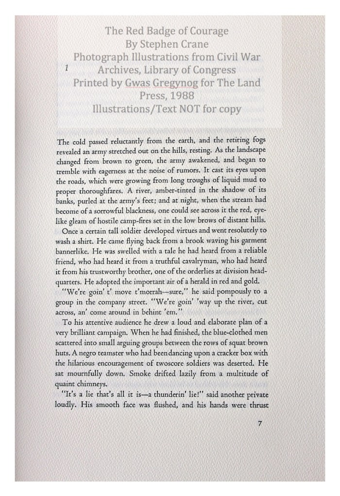 The Red Badge of Courage, Gwasg Gregynog, Sample Page with Text