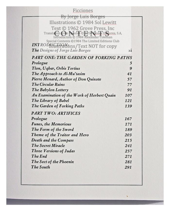Ficciones, Limited Editions Club, Contents Page