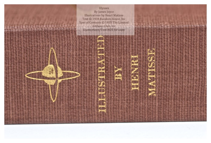 Ulysses, Limited Editions Club, Macro of Spine