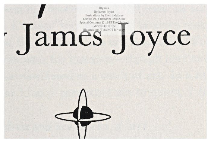 Ulysses, Limited Editions Club, Macro of Title Page