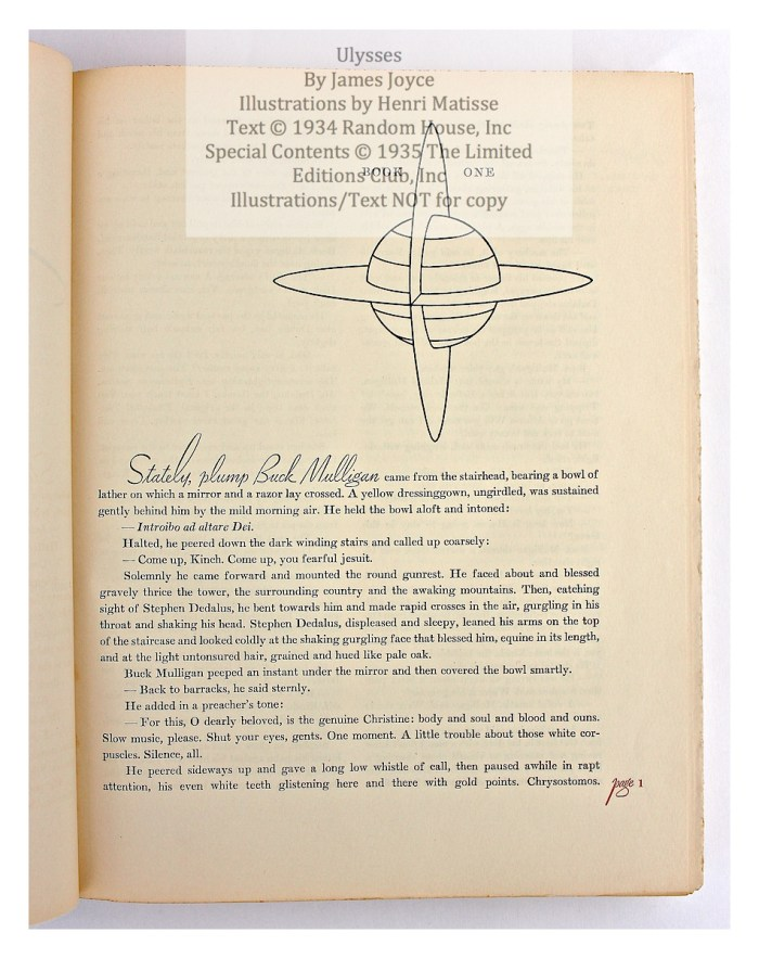 Ulysses, Limited Editions Club, Sample Text #2 - Start of Book
