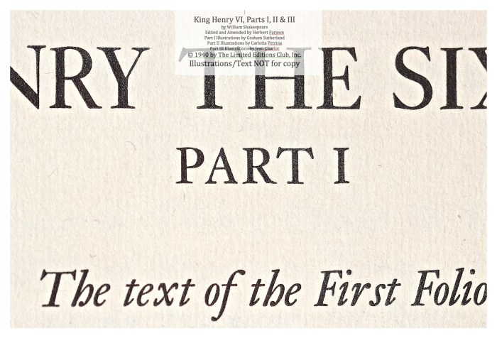 King Henry VI, Part I, Limited Editions Club, Macro of Title Page