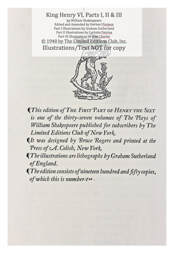 King Henry VI, Part I, Limited Editions Club, Colophon