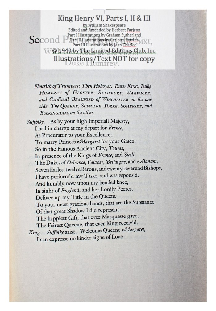 King Henry VI, Part II, Limited Editions Club, Sample Text 1