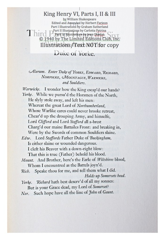 King Henry VI, Part III, Limited Editions Club, Sample Text 1