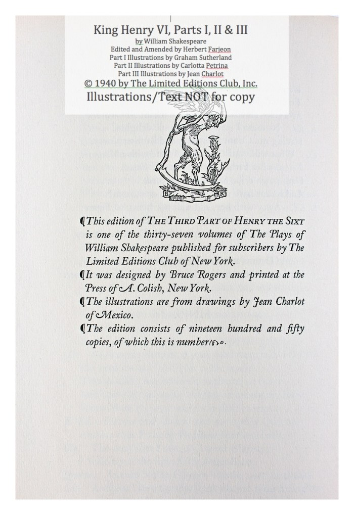 King Henry VI, Part III, Limited Editions Club, Colophon