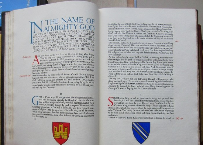 The History of Saint Louis, The Gregynog Press, Sample Text and Decoration #3