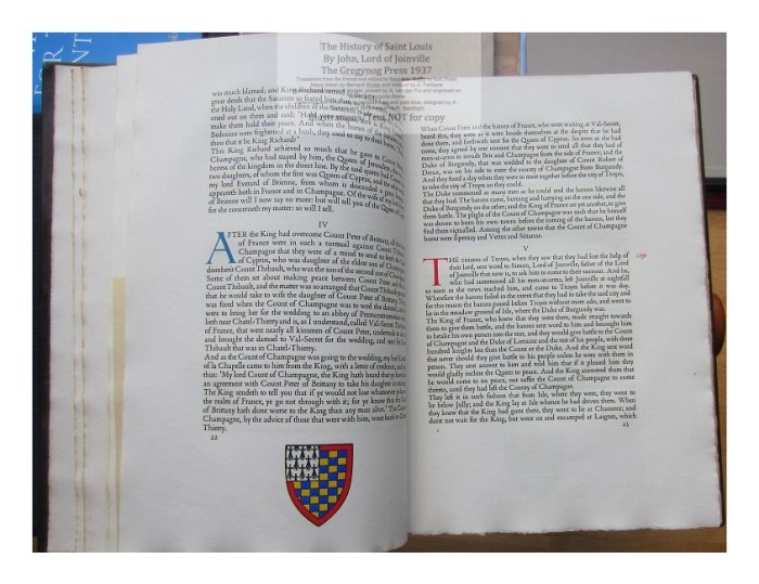 The History of Saint Louis, The Gregynog Press, Sample Text and Decoration #4