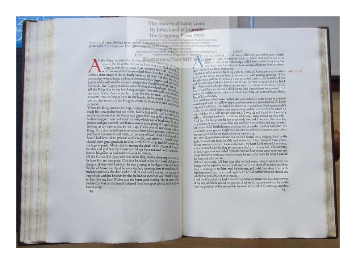 The History of Saint Louis, The Gregynog Press, Sample Text and Decoration #7
