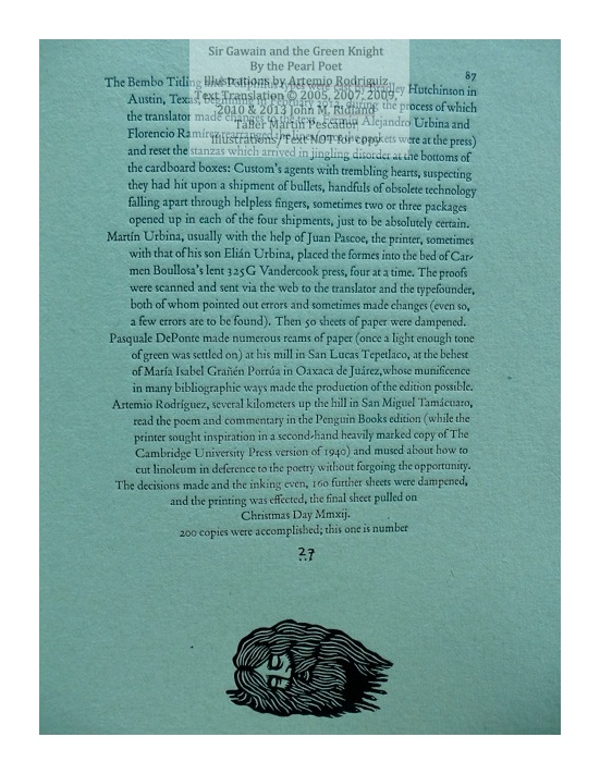 Sir Gawain and the Green Knight, Taller Martin Pescador, Colophon