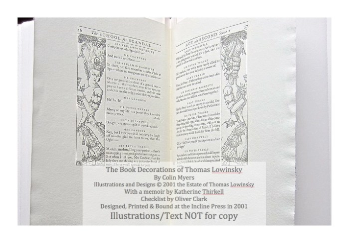 The Book Decorations of Thomas Lowinsky, Incline Press, Sample #4