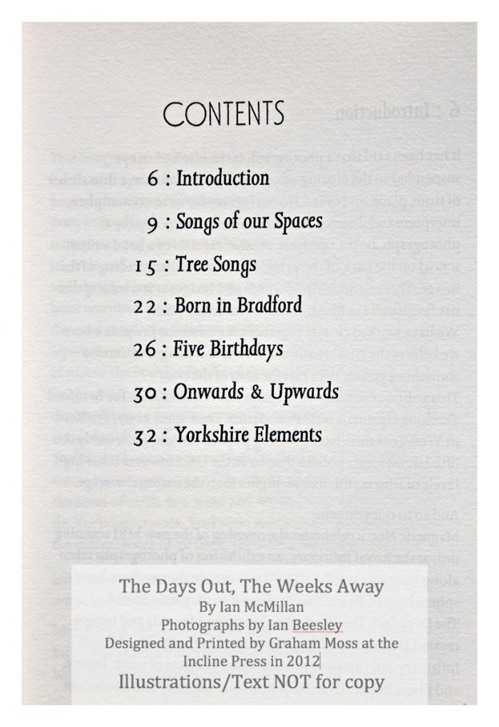 The Days Out, The Weeks Away, Incline Press, Contents