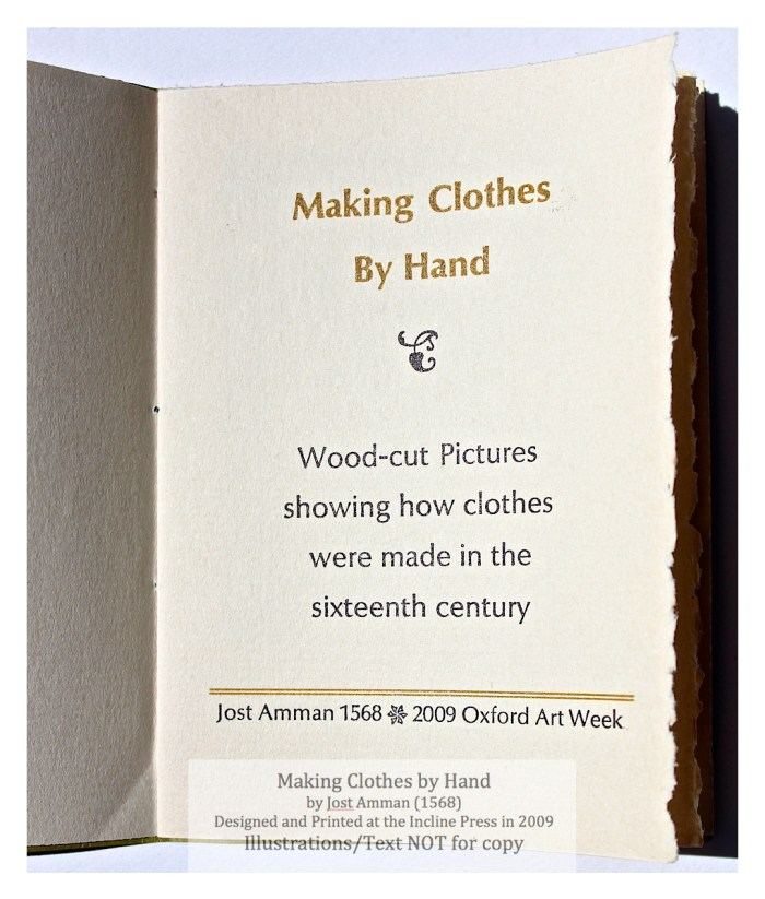 Making Clothes by Hand, Incline Press, Title Page