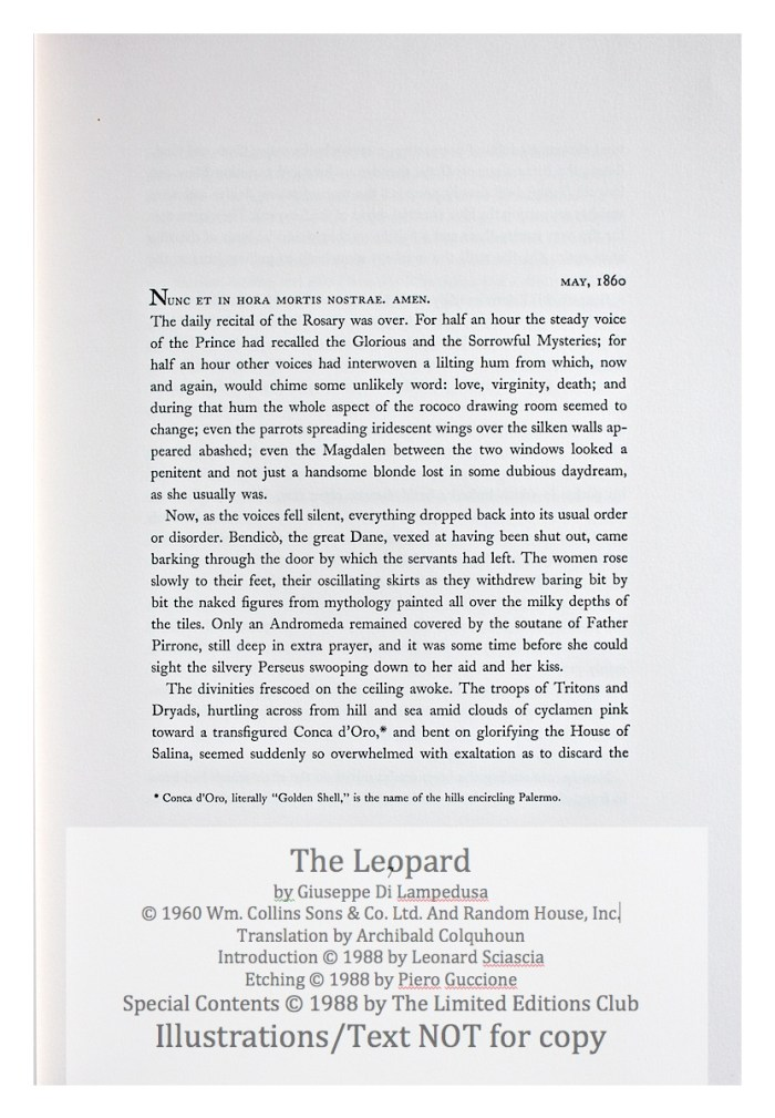 The Leopard, Limited Editions Club, Sample Text #2