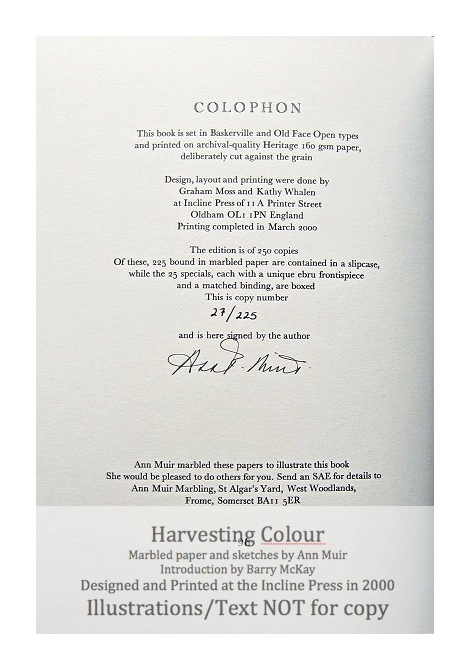 Harvesting Colour, Incline Press, Colophon