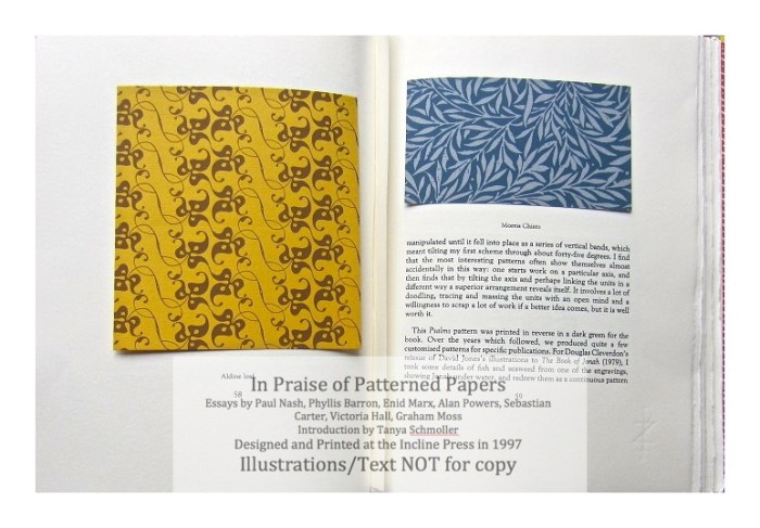 In Praise of Patterned Papers, Incline Press, Sample Papers #3 and text