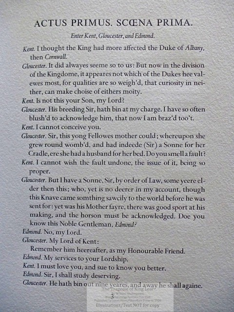 The Tragedie of King Lear, Janus Press/Theodore Press, Sample Page: Text page - Act One, Scene One