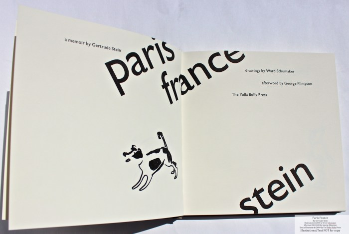 Paris France, Yolla Bolly Press, Title Page