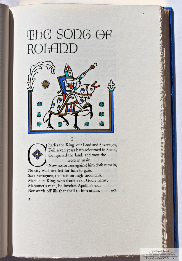 The Song of Roland, Limited Editions Club, Sample Illustration #1 with text
